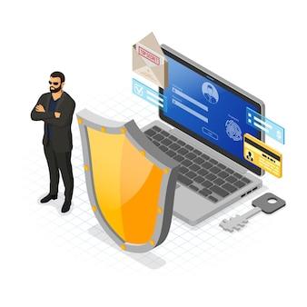 コンピュータサイバーインターネットと個人データセキュリティ保護バナー。シールドセキュリティガードログインと指紋フォームを備えたラップトップ。 vpnアンチウイルスハッキングの概念