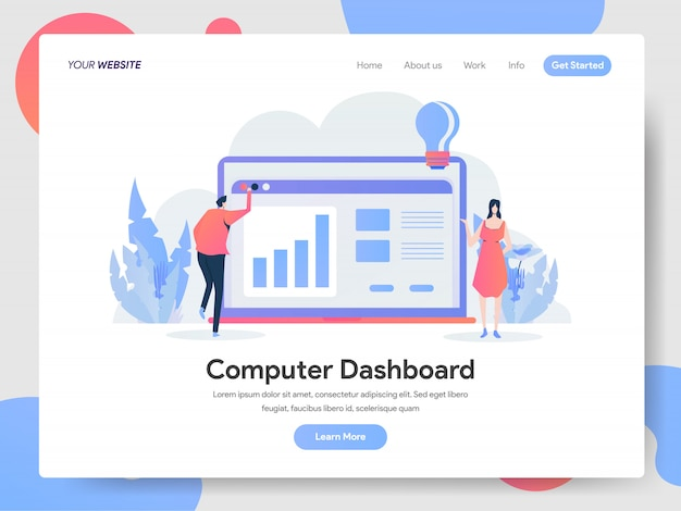 Computer dashboard banner of landing page