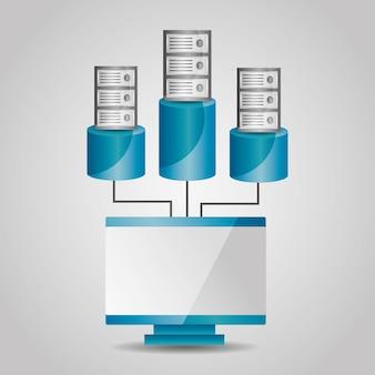 Computer and data base server sharing communication