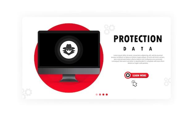 コンピュータデータ保護データ。ハッカー攻撃の概念から個人データを保護します。サイバー犯罪。孤立した白い背景の上のベクトル。 eps10。