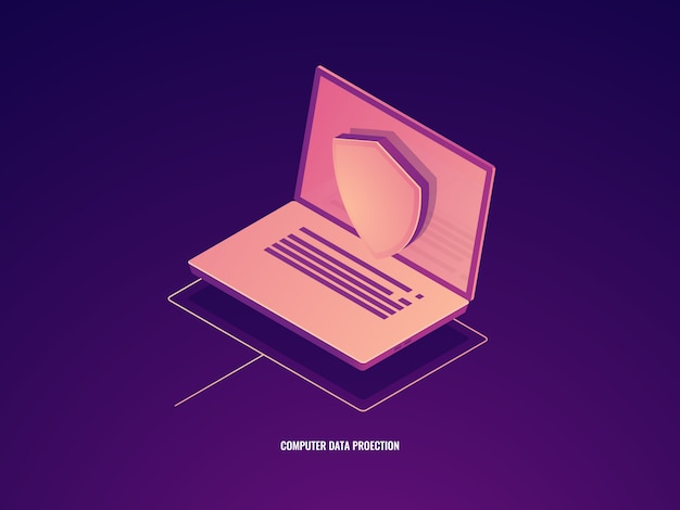 Computer data protection, laptop with shield, data safety isometric icon