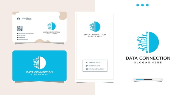 Дизайн логотипа технологии компьютерных данных и визитная карточка