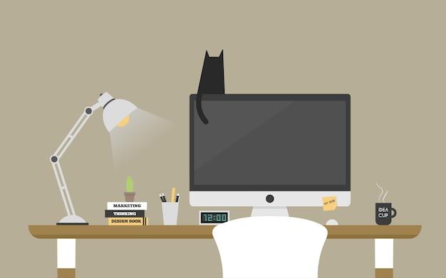 Computer desk workplace concept.