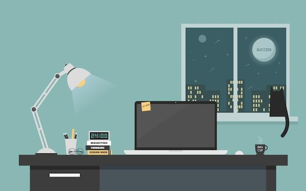 Computer desk workspace concept.
