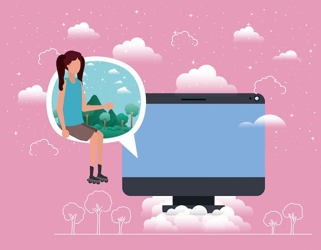 Computer desktop with woman in speech bubble