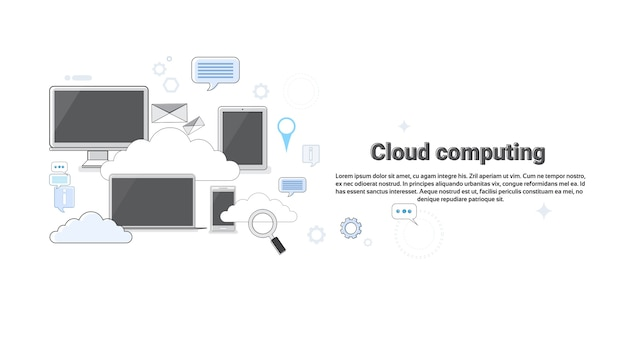 Computer device data cloud storage security thin line vector illustration