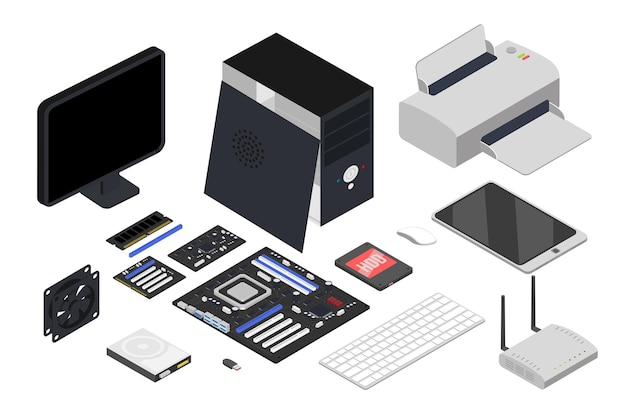 Computer devices isometric illustrations set printer keyboard processor tablet network router