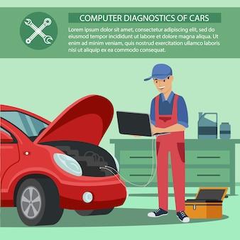 Computer diagnostics car. man in uniform.