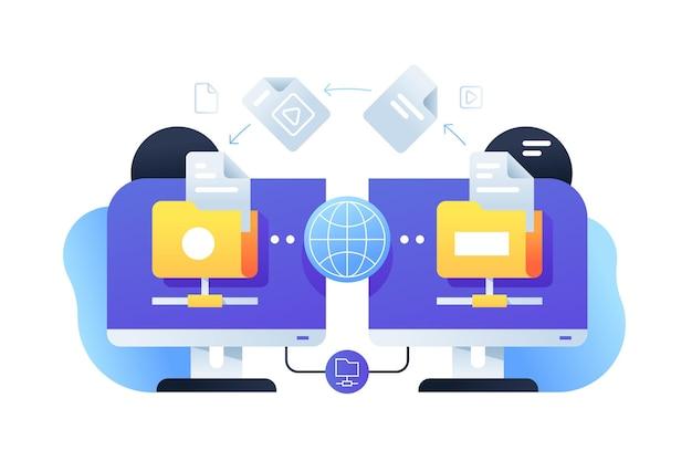 オンラインアプリとの接続を使用したコンピューターのデジタルファイル共有。ネットワークサービスを使用してwebビジネスドキュメントのpc技術の分離されたアイコンの概念。