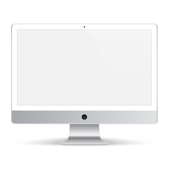 Computer dispay for the system unit white color with blank screen isolated on white