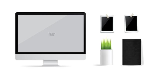 흰색에 빈 화면 영역이 있는 컴퓨터 디스플레이 배경. 벡터 일러스트 레이 션.