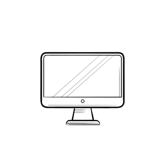 Computer display hand drawn outline doodle icon. monitor and computer screen, office digital equipment concept
