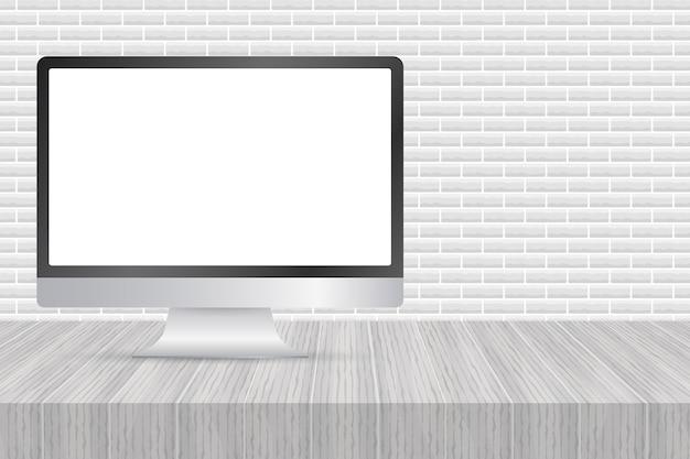 白い背景の上の現実的なデザインで隔離のコンピューターディスプレイ。ベクトルストックイラスト。