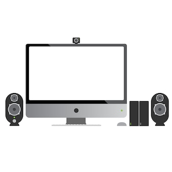 Computer display and speaker isolated on white.