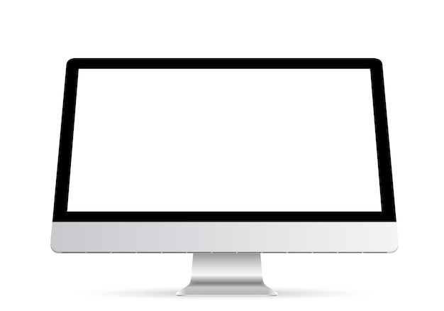 Computer display with blank white screen isolated on a transparent background