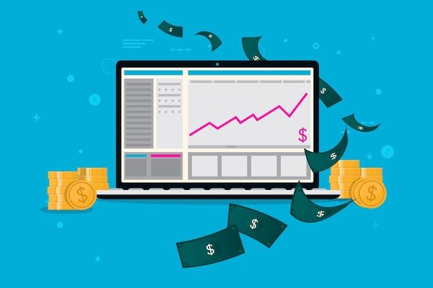 컴퓨터 수입-상승 그래프와 돈을 가진 노트북