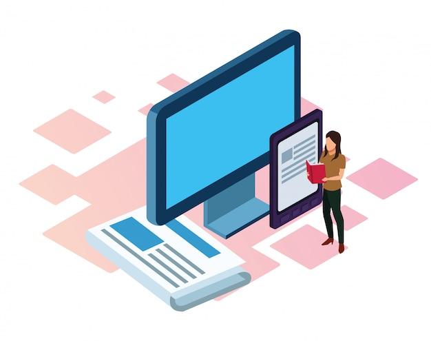 컴퓨터, 전자 책 장치 및 만화 여자 화이트에 서