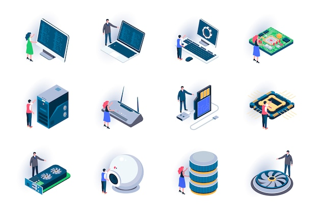 Computer elements isometric icons set. digital electronics components and computer parts flat illustration. hardware equipment for system unit 3d isometry pictograms with people characters.