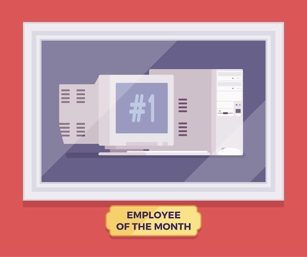 Компьютерный работник победителя месяца. гаджет лучшего работника, достигшего совершенства в программе вознаграждения за тяжелую и продуктивную работу, фото руководителя в стеклянной рамке на стене. векторная иллюстрация