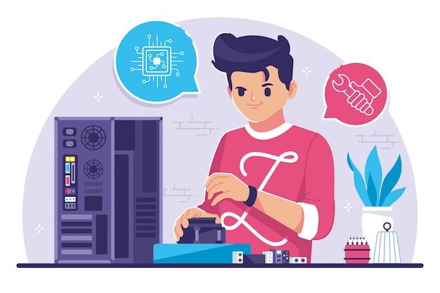 Computer engineer flat design illustration