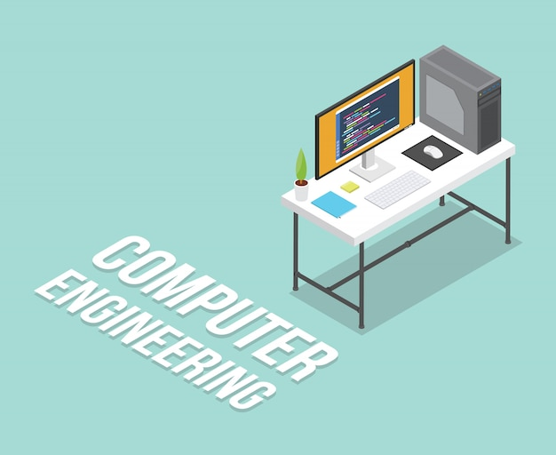 Computer engineering isometric workspace education