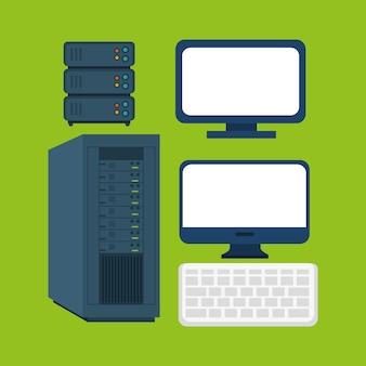 コンピュータ機器の供給アイコンのグラフィック