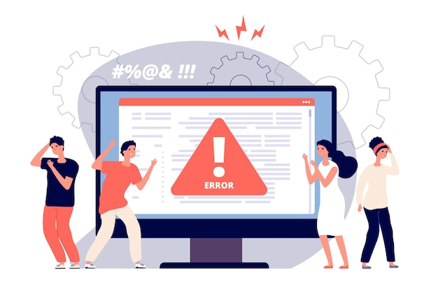 Computer error. warnings unavailable page users, attention symbol alerts of problem, angry clients near monitor device