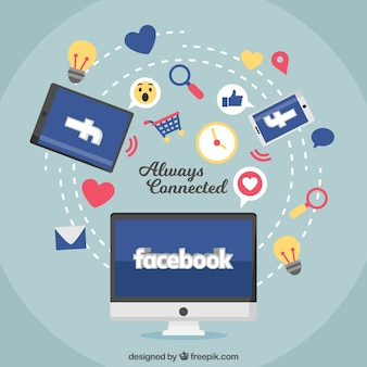 Computer facebook background with icons and elements