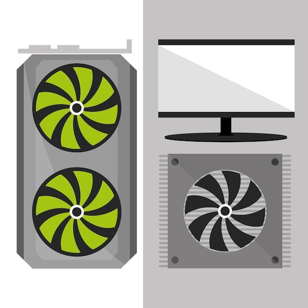 Компьютерный вентилятор и экран