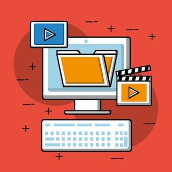 Computer folder movie video player social media