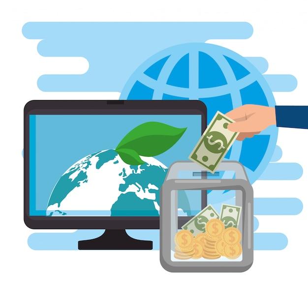 オンライン慈善寄付用のコンピューター