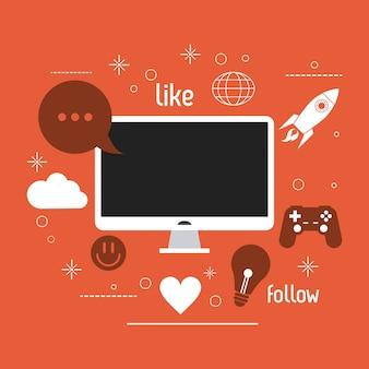 Computer gadget social media icon set