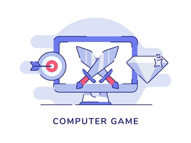 디스플레이 화면에 두 개의 칼을 가진 컴퓨터 게임 개념