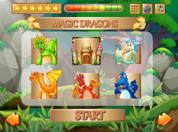 Computer game with dragon characters
