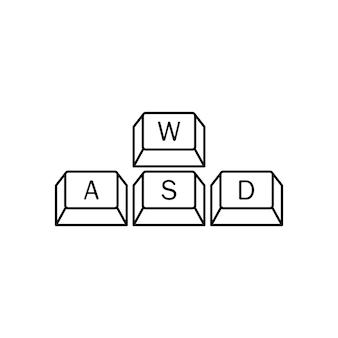 컴퓨터 게이머 키보드, wasd 키. wasd 키, 게임 제어 키보드 버튼. 게임 및 사이버 스포츠 기호입니다. 벡터 eps 10입니다. 흰색 배경에 고립.