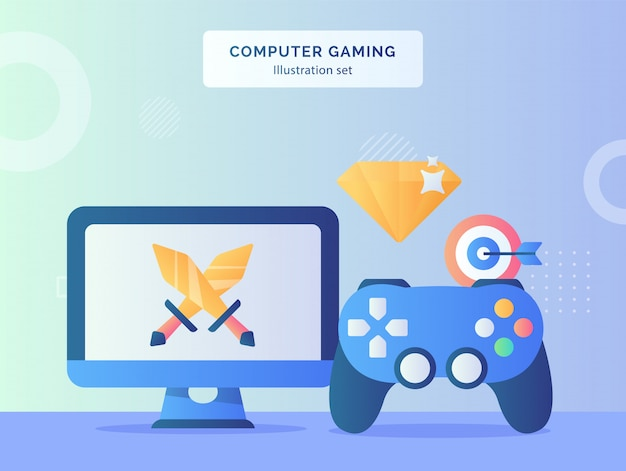 Иллюстрация компьютерных игр установленный меч на дисплее монитора компьютера рядом с джойстиком игровой алмазной мишенью с плоским стилем.