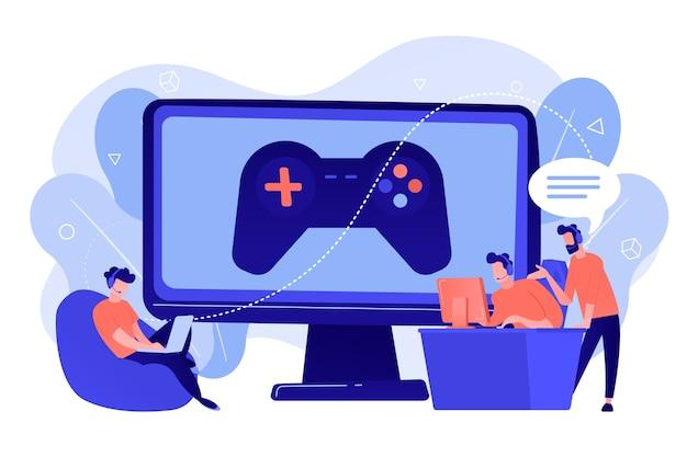 Индустрия компьютерных игр, обучение киберспорту. тренинг по киберспорту, уроки с профессиональными игроками, платформа для киберспорта, играйте как профессионал. розовый коралловый синий вектор изолированных иллюстрация