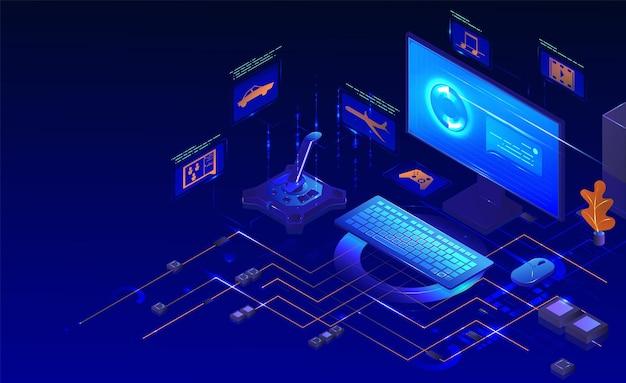 Компьютерный игровой набор. изометрические монитор настольного компьютера, клавиатура, мышь, игровой контроллер. компьютерные игровые аксессуары, вектор