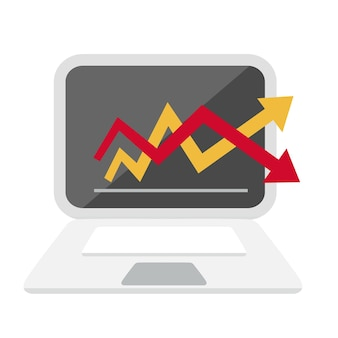 Computer and graph chart icon   illustration