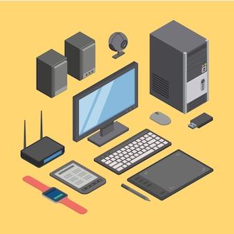 コンピューター、ハードウェア、最新のデジタル機器技術