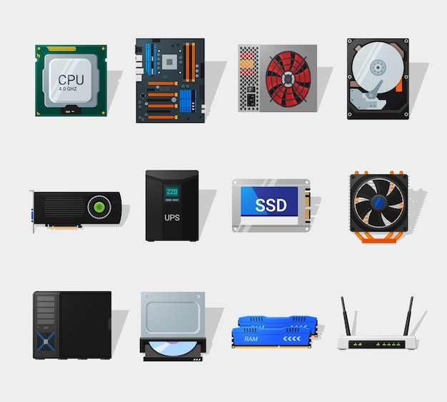 Computer hardware in flat style. detailed flat style. different computer parts. cpu, motherboard, hdd, ssd and video card.