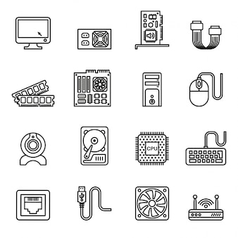 Computer hardware icons. pc components icons.
