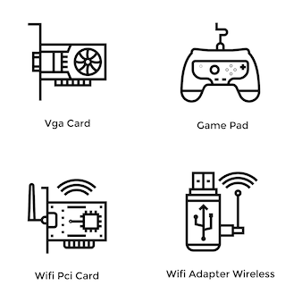 Computer hardware line vector icons