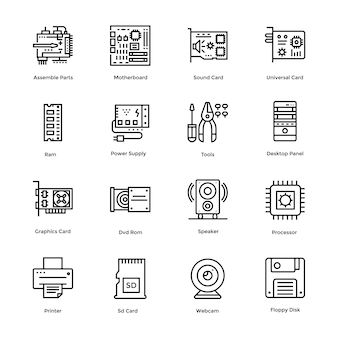 Computer hardware vector icons bundle