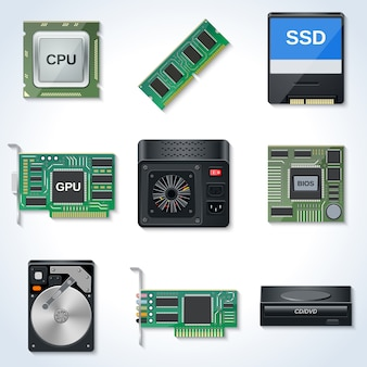 Computer hardware vector icons collection