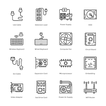 Computer hardware vector icons set