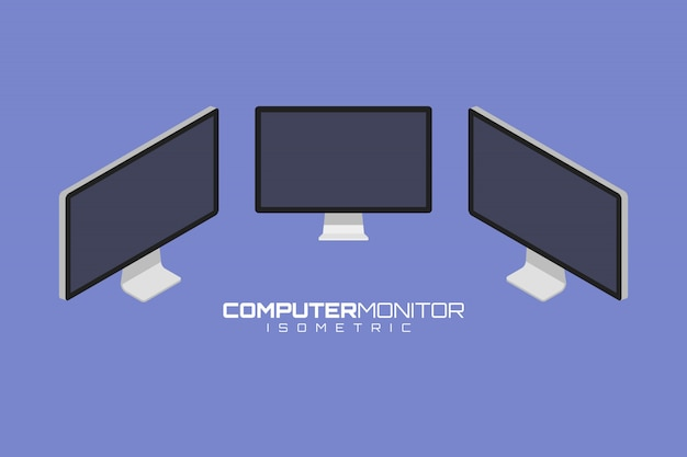 Computer icon set vector graphic illustration. isometric view of the front, right, left and
