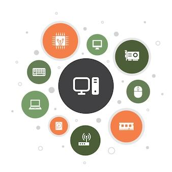 コンピューターインフォグラフィック10ステップバブルデザイン。cpu、ラップトップ、キーボード、ハードドライブのシンプルなアイコン
