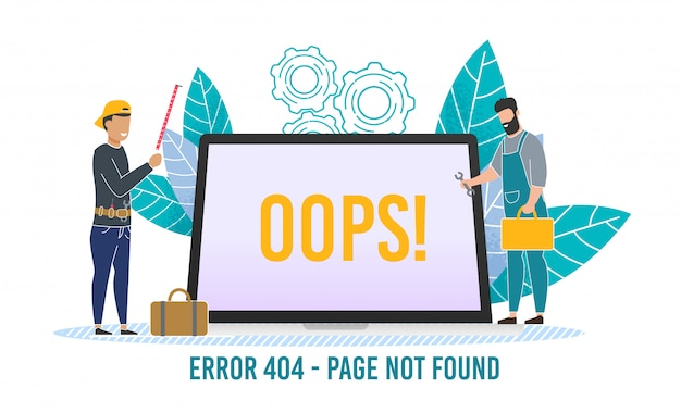 Computer internet error  with tiny people
