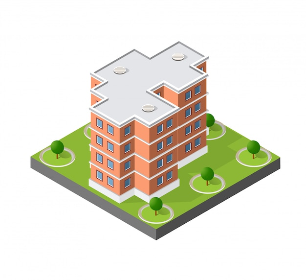 Computer internet icon isometric 3d landscape of